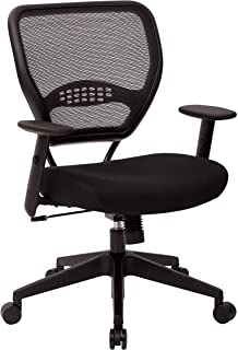 Office Star 55 Series Professional Dark Air Grid Back Office Desk Chair with Built-in Lumbar Support, Tilt Control, Adjust...