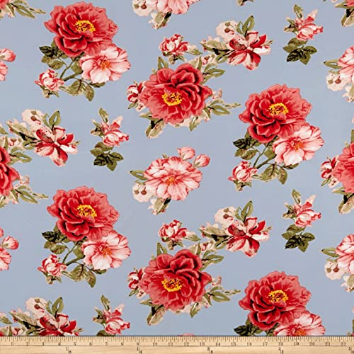 c9a2ab64f07 Fabric Merchants Double Brushed Poly Spandex Jersey Knit Floral Coral on  Light Blue Fabric by The