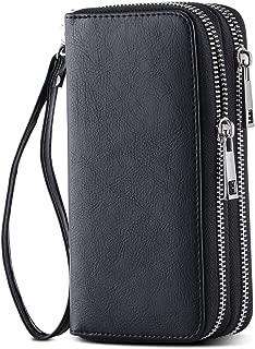 Dovewill Genuine Leather Wristlet Wrist Bag Strap Handbag Purse Wallet Handle Bag Accessories Black