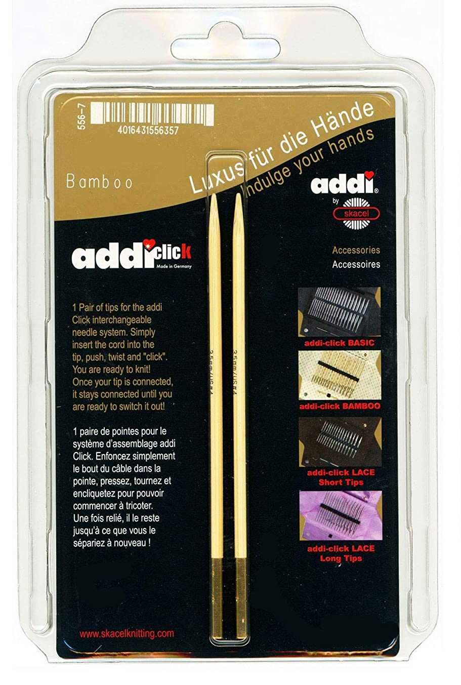 addi Click Interchangeable Knitting Needle Tips Natura Bamboo Set 5 inch (13cm) Size US 05 (3.75mm)