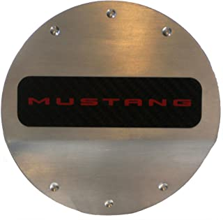 Defenderworx 901400 Brushed Fuel Door with Red Ford Mustang Logo
