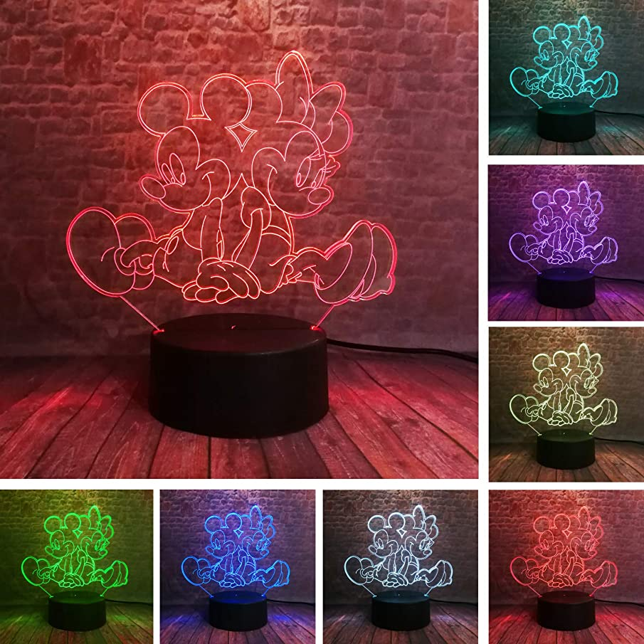 Amroe 3D Lovely Mickey & Minnie Mice Mouse 7 Color Change Boys Bedroom Sleeping Night Decor Lamp Child Kids Baby Girl Friend Festival Party Xmas Birthday Holiday Toys Gifts (Mickey and Minnie)