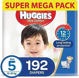 HUGGIES Ultra Comfort Diapers, Size 5, Jumbo Pack, 12-22 kg, 192 Diapers