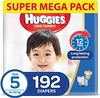 HUGGIES Ultra Comfort Diapers, Size 5, Jumbo Pack, 12-22 kg, 192 Diapers