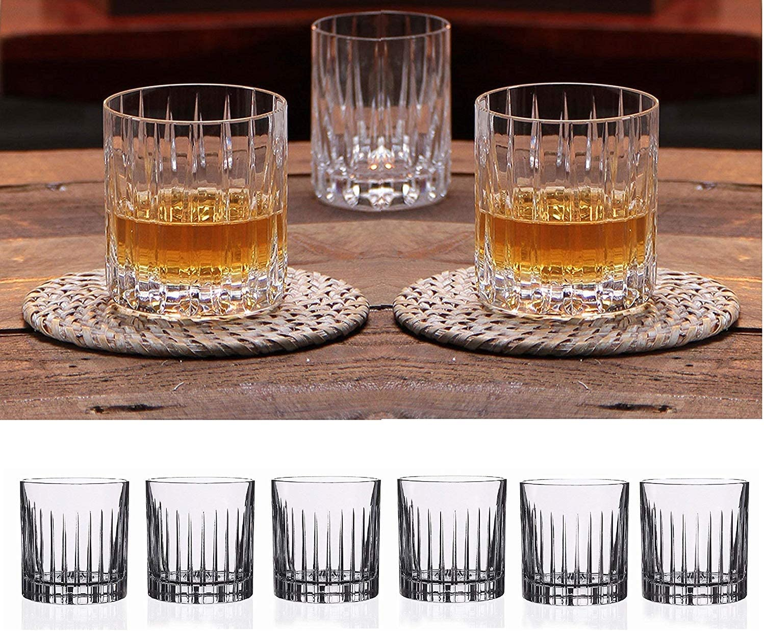 Double Old Fashioned Crystal Glasses, Set of 6 Whiskey Glasses, Perfect for Serving Scotch, Cocktails, or Mixed Drinks. (New York) pattern