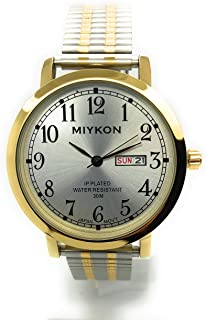 Mens Water Resistant Miykon Watch Day Date Stretch Elastic Band Fashion Watch