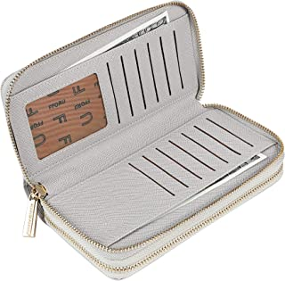 Cynure Women's Large Zipper Card Organizer Long Leather Wristlet Clutch Wallet for Ladies, Grey