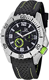 Joshua & Sons Mens Quartz Watch, Analog Display and Silicone Strap JS53GN