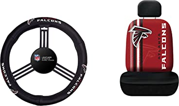 NFL Atlanta Falcons Rally Seat Cover with Leather Steering Wheel Cover, One Size, Black