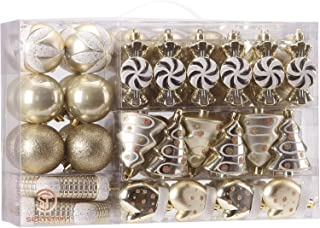 Best Sea Team 77-Pack Assorted Shatterproof Christmas Balls Christmas Ornaments Set Decorative Baubles Pendants with Reusable Hand-held Gift Package for Xmas Tree (Gold) Review