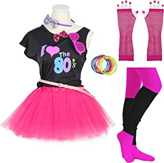 Gilrs 80s Costume Accessories Fancy Outfit Dress for 1980s Theme Party Supplies