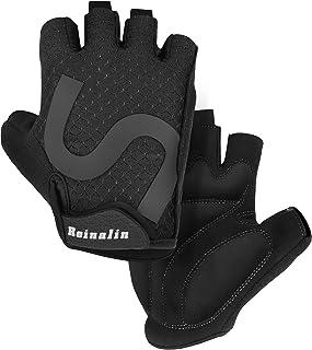 Reinalin Fingerless Cycling Gloves for Men, Summer Bicycle Gloves with Anti-Slip Gel Pad, Breathable Half Finger Bike glov...