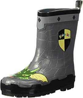 Kidorable Dragon Knight Grey Natural Rubber Rain Boots With A Pull On Heel Tab (Big Kid)