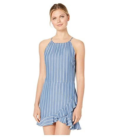 American Rose Leilani Striped Halter Dress with Ruffles (Denim) Women
