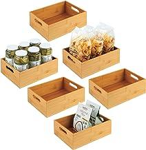 mDesign Bamboo Kitchen Cabinet & Fridge Drawer Organizer Tray - Storage Bin for Cutlery, Serving Spoons, Cooking Utensils,...