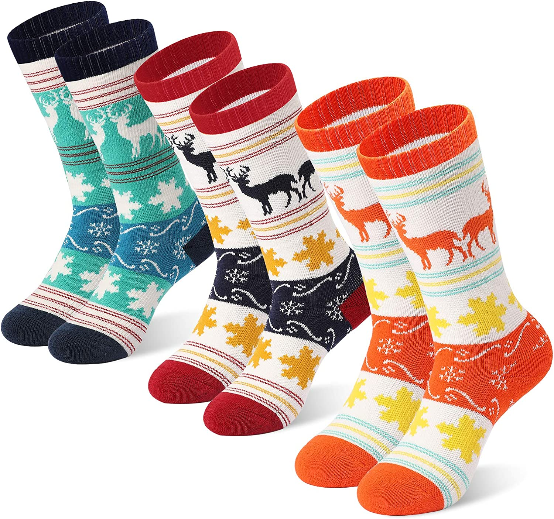 Kids Winter Ski Socks for Boys Girls, 3 Pairs Warm Socks Over The Calf Ages 4-9