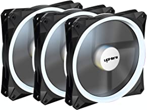 upHere Halo Ring Led 140mm case Fan 3 Pack Hydraulic Bearing Quiet Cooling case Fan for Computer Mirage Color LED Fan 3 pin with Anti Vibration Rubber Pads(White)/14CMW3-3