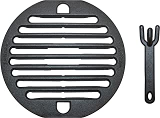 Jim Beam JB0188 10'' Cast Iron Grate with Lifter and Barbecue Smoker Grill Ac, Large, Black
