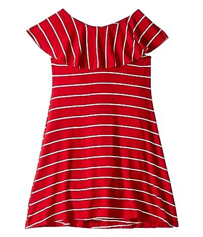 fiveloaves twofish Ruffle Collar Dress (Toddler/Little Kids/Big Kids) (Red Stripe) Girl