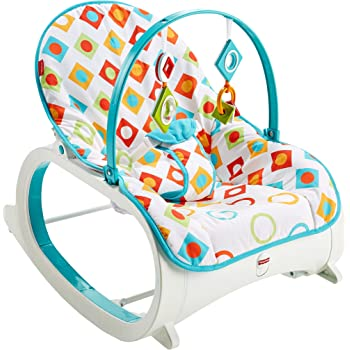 Fisher-Price Original Infant to Toddler Baby Rocker Geo Diamonds Theme - Foldable, Portable.