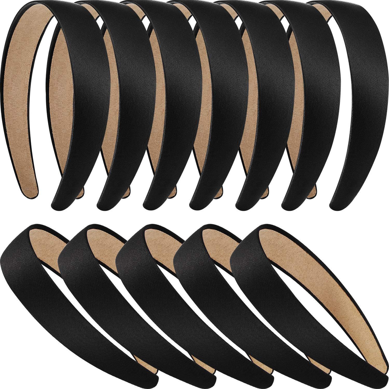 12 Pieces Hard Headbands Satin Headbands 1 Inch Headbands Non-slip Ribbon Hair bands DIY Hair Accessories Headbands Headwear for Women Girls (Black)