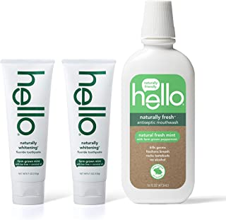 Hello Oral Care Naturally whitening fluoride toothpaste twin pack + naturally fresh antispetic mouthwash