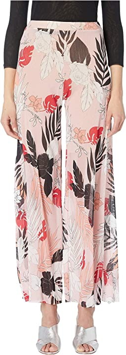 Leaf Print Slip Detail Pants