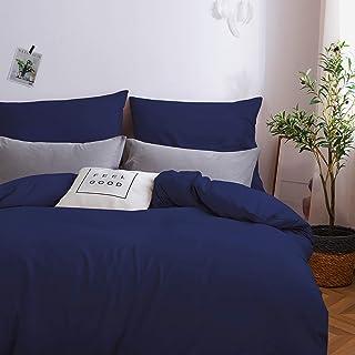 Sets de Housse de Couette 220x240cm+2 taies d'oreillers 65x65cm Parure de Lit 2 Personnes Bleu Marine