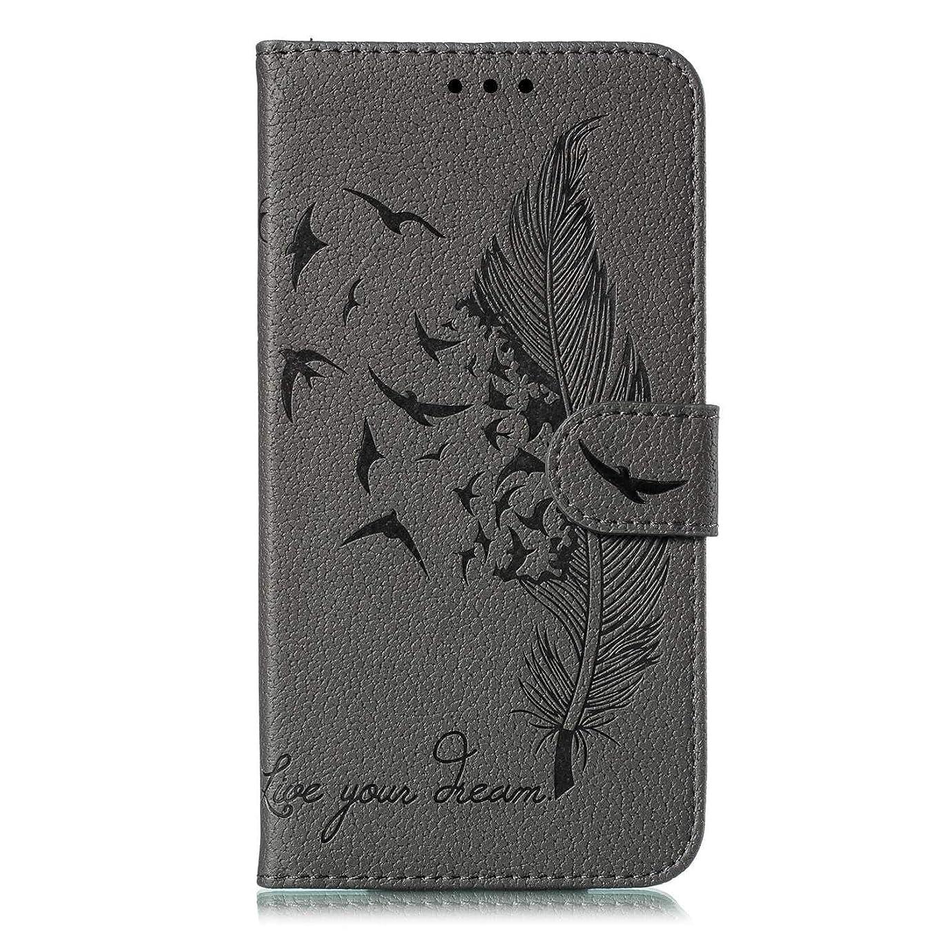 ポルノトレーダーフルートGalaxy A60 専用 おしゃれ ケース, CUSKING Samsung Galaxy A60 ケース 無地 全面保護 耐衝撃 マグネット式 保護ケース エンボス 柄 カバー カードポケット付き, グレー