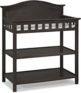 Thomasville Kids Southern Dunes Dressing Table with Pad, Espresso, Changing Table with Water Resistant Changing Pad, Safety Strap & Two Storage Shelves, for Infants & Toddlers