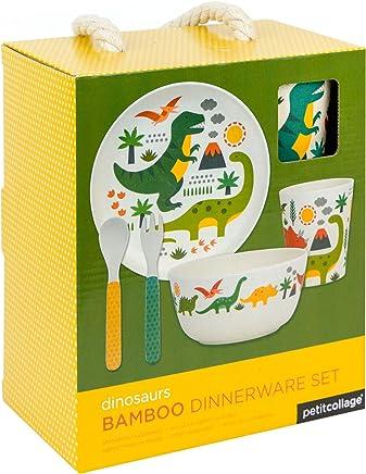 Preisvergleich für Petit Collage Geschirrset Bambus Dinosaurier, Multi/Coloured, 19 x 12.1 x 22 cm