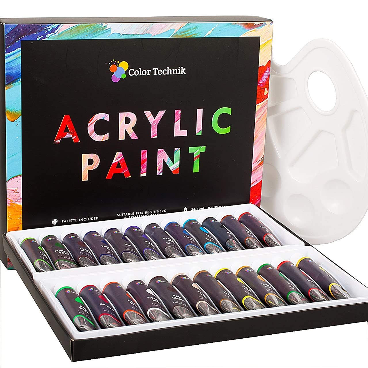 Color Technik Acrylic Paint Set, Professional Artist Quality, Palette Included, 24 Aluminium Tubes, Best Colors for Painting Canvas, Wood, Clay, Fabric, Nail Art and Ceramic, Rich Pigments, Gift Me