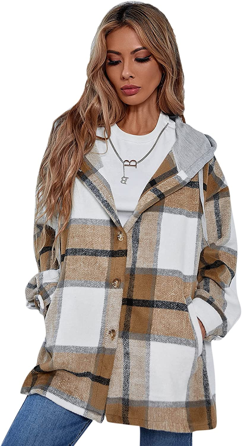 MakeMeChic Women's Plaid Long Sleeve Button Down Hooded Jackets Coat with Pockets