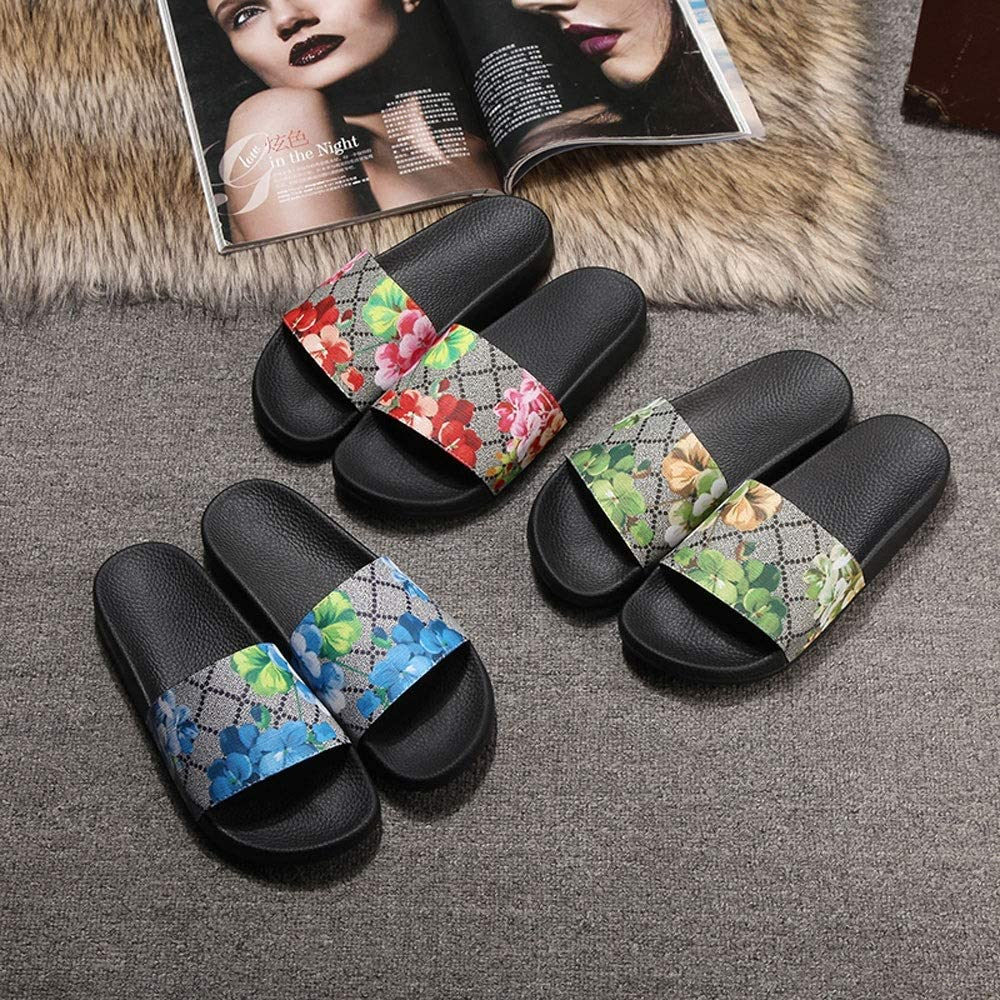 COCNI 2020 New Genuine Leather Womens Slippers Womens Soft Brand Slide Sandals Floral Printing Leather Rubber Flip-Flops Slippers Outdoor Leisure Beach Shoes All-Match Womens Sandals