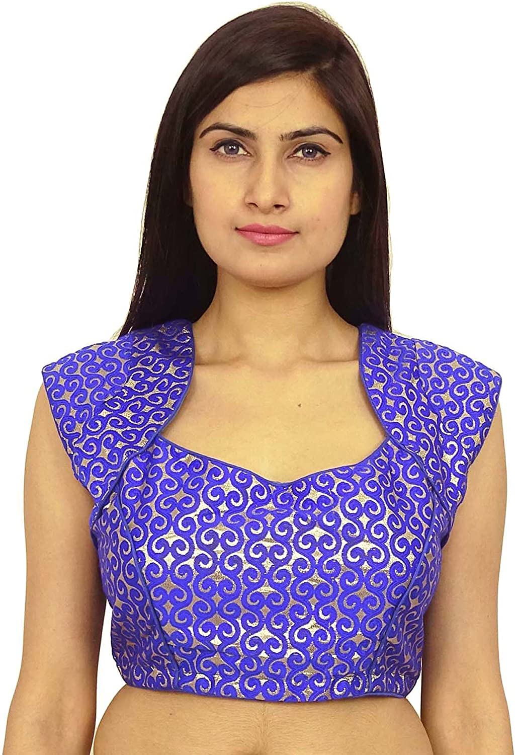 New Free Shipping Designer Wedding Saree Embroidered Work Readymade Party Wear Stitched Blouse Crop Sari Top New Banglori Silk For Women Gf4