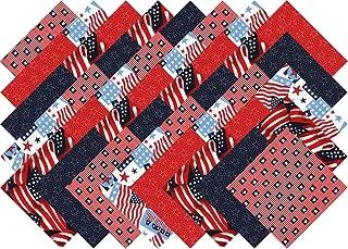 Patriotic USA Flag Charm Pack 40 Precut 5-inch Quilting Fabric Squares …