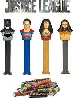 PEZ Justice League Dispenser and Candy Refill Set: Batman, Superman, Wonder Woman, and Aquaman (4 Dispensers and 24 Rolls of PEZ Candy Refills)