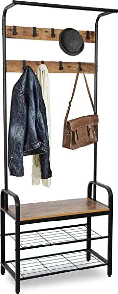 SUPER DEAL 3N1 Metal Hall Tree Entryway Coat Clothes Racks 3 Tier Shoe Rack Bench Hat Scarf Bag Rack Umbrella Stands Storage Shelf All In One Wood Look Accent Furniture