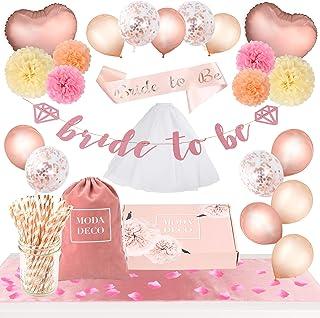 Moda Deco Bridal Shower Bachelorette Party Supplies Set +165pcs- Complete Decoration Kit: Balloons, Table Runner, Pom Poms, Straws, Bride to Be Sash, Veil, Banner, Flower Petals, Bag & Box, Rose Gold