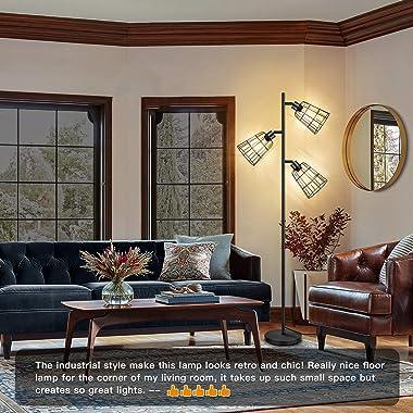 Industrial LED Floor Lamp, Tree Floor Lamp with 3 Adjustable Heads, Farmhouse Standing Lamp, Tall Pole Sturdy Base Rustic Flo