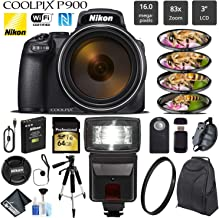 Nikon COOLPIX P900 Digital Camera 16MP 83x Optical Zoom & Built-in Wi-Fi + Slave Flash + Macro Filter Kit + UV Protection Filter + Wireless Remote + Tripod - International Version