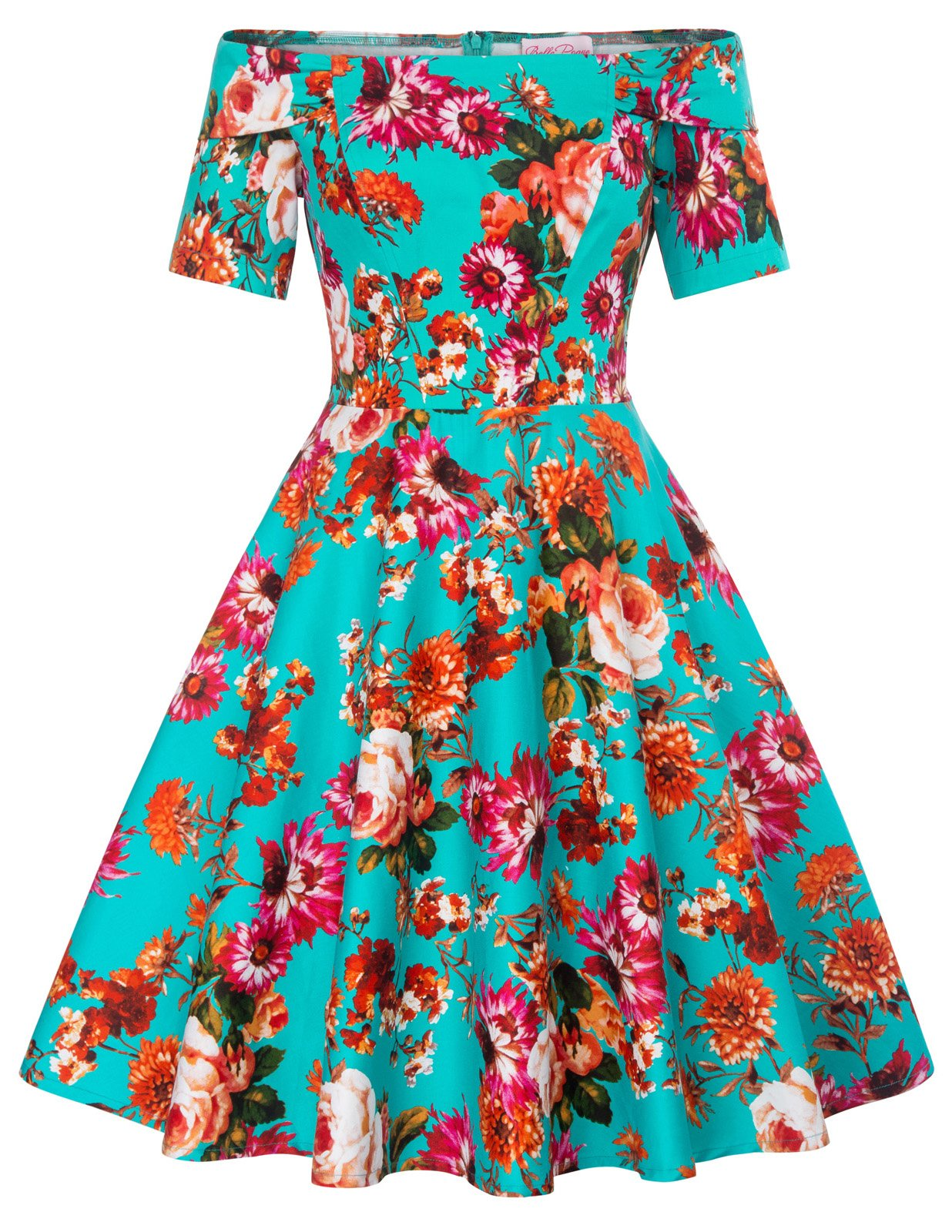 Available at Amazon: Women's 1950s Retro Vintage Off Shoulder A-Line Floral Dress