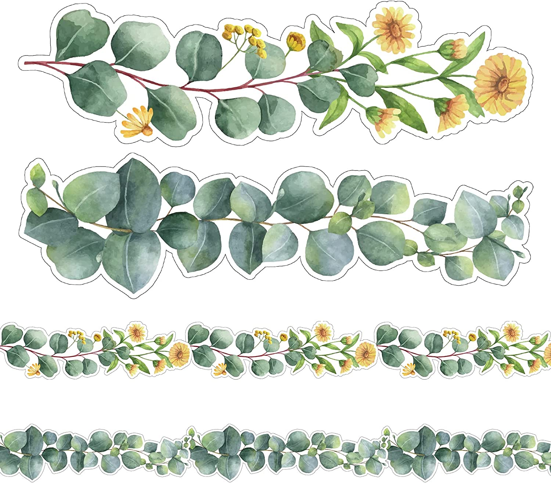 NBjiuyin Eucalyptus Daisy Die-Cut Border Wholesale Leaves Fort Worth Mall Green Flowe Trim