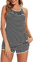 Doaraha Conjunto Pijama Corto Mujer Ropa de Dormir Algodón Camiseta a Rayas sin Mangas Pantalones Cortos Conjunto de Pijam...