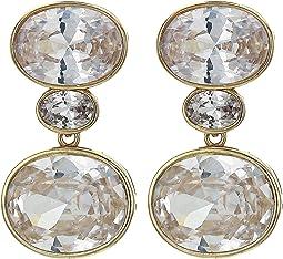 Horizontal Oval Drop Earrings