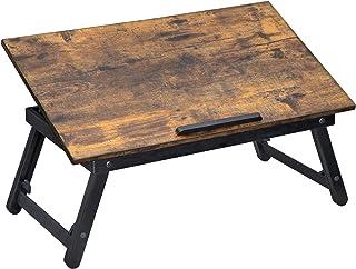 SONGMICS Laptopskrivbord, justerbart bäddsoffa, frukostserveringsbricka med fällbara ben med lutningsvinklar, passar skärm...