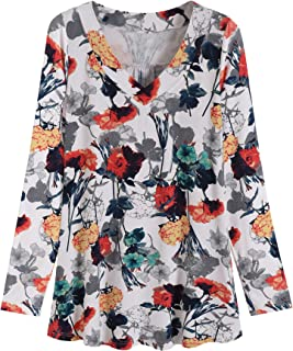 Women's Plus Size V Neck Long Sleeves Tunic Shirt
