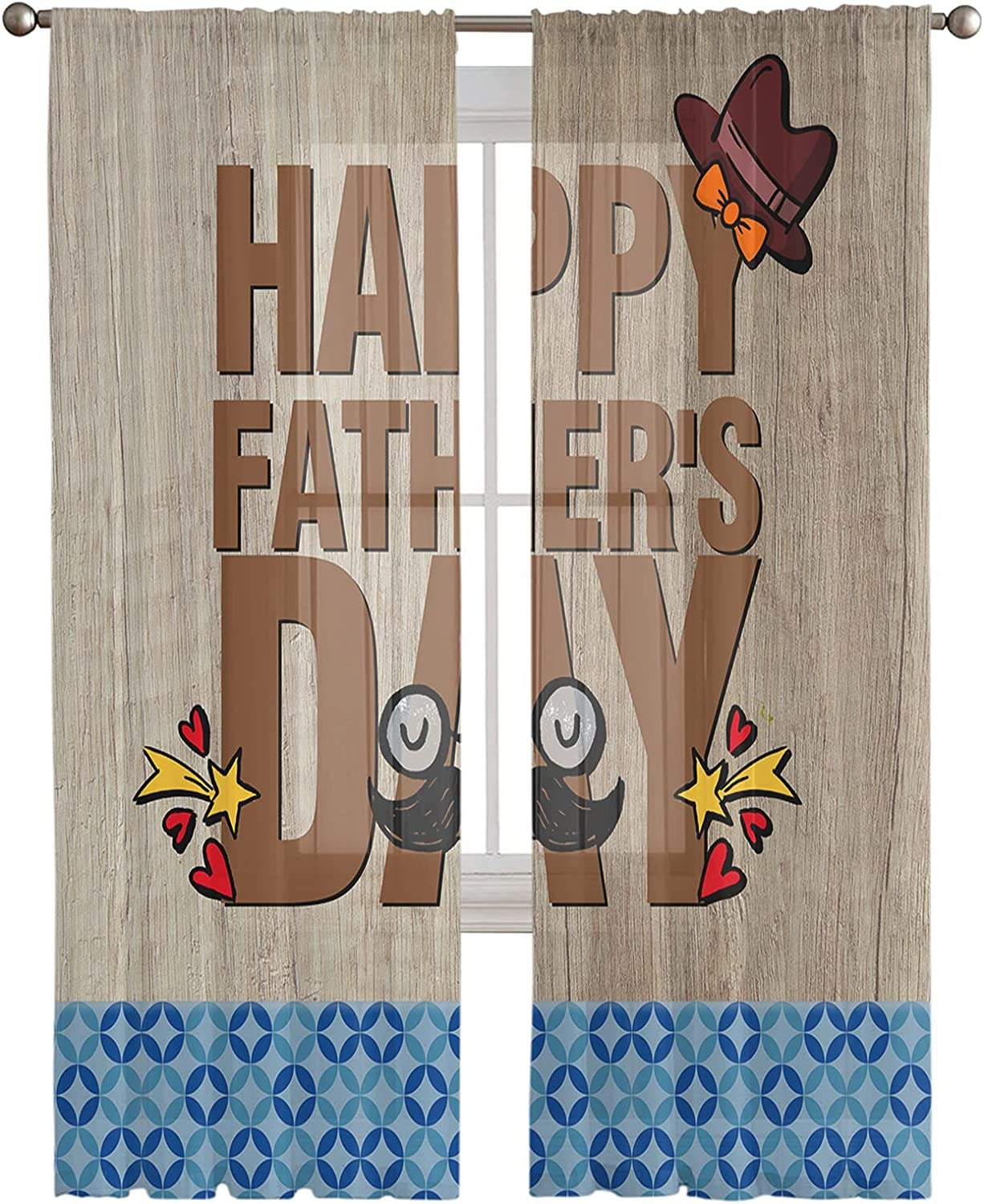 Outlet sale feature Voile Sheer Curtains 63inch Length Happy Day Father's 2 Max 82% OFF Panels