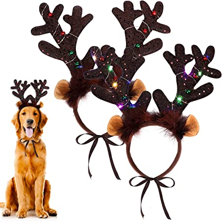 URATOT 2 Pack Dog Cat Light Up Christmas Reindeer Headbands LED Deer Headwear Party Hats for Pets Christmas Party Favors