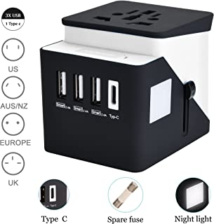 Universal Travel Adapter, RUOBAI Travel Power Converter, All in One Travel Charger with 3 USB & 1 Type-C 3.4A, International Power Adapter for US, UK, EU, AU, Over 200 Countries (Black)